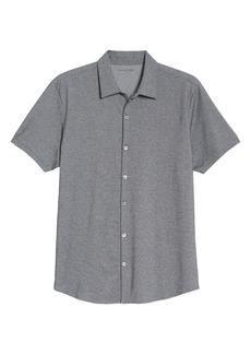 Zachary Prell Crause Regular Fit Knit Short Sleeve Button-Up Shirt