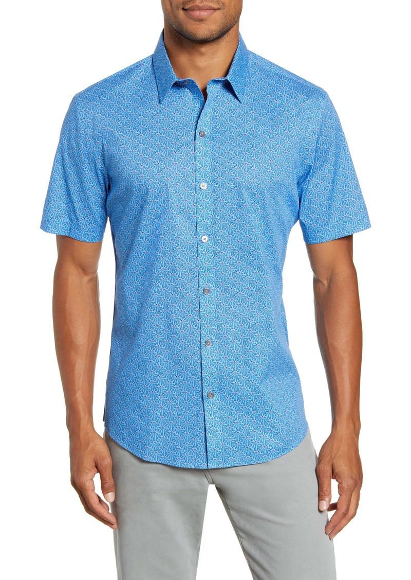 Zachary Prell Eversaul Regular Fit Print Short Sleeve Button-Up Shirt