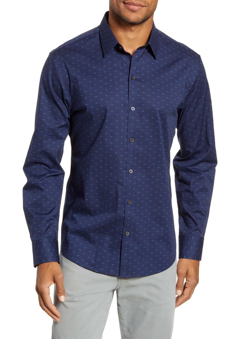 Zachary Prell Guerro Regular Fit Leaf Print Button-Up Sport Shirt