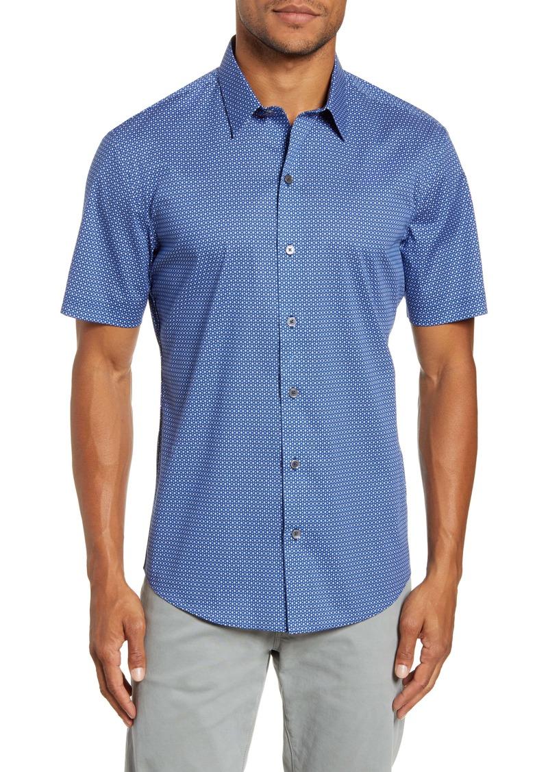 Zachary Prell Jencunas Regular Fit Geo Print Short Sleeve Button-Up Sport Shirt