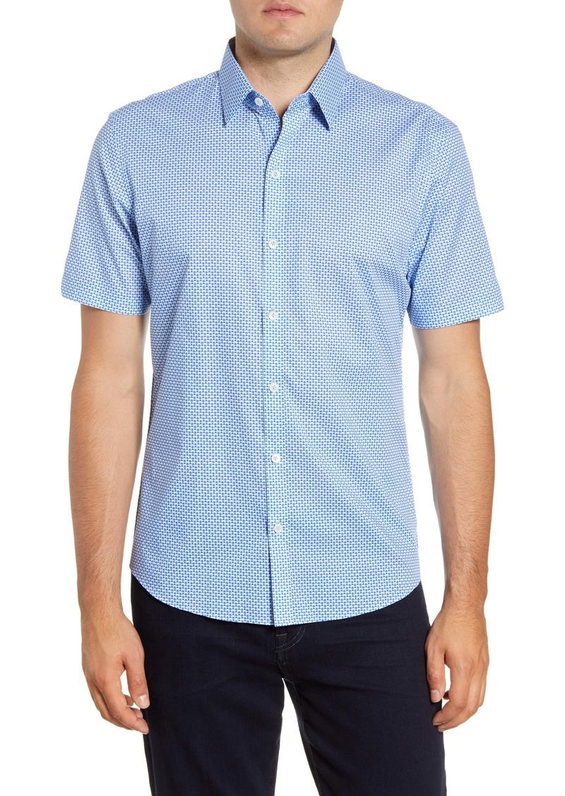 Zachary Prell Mathews Regular Fit Geo Short Sleeve Button-Up Sport Shirt