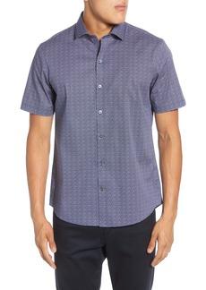 Zachary Prell Papazis Regular Fit Short Sleeve Button-Up Stretch Cotton Shirt