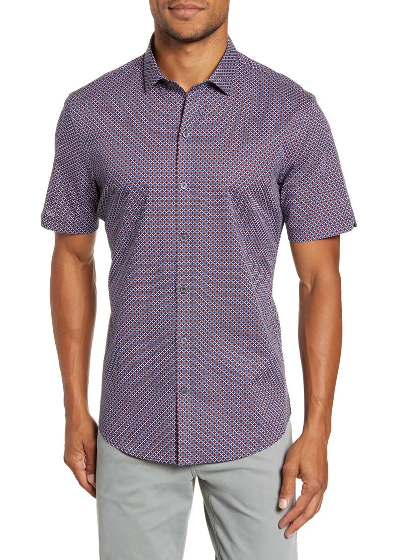 Zachary Prell Tafuto Regular Fit Geo Print Short Sleeve Button-Up Sport Shirt