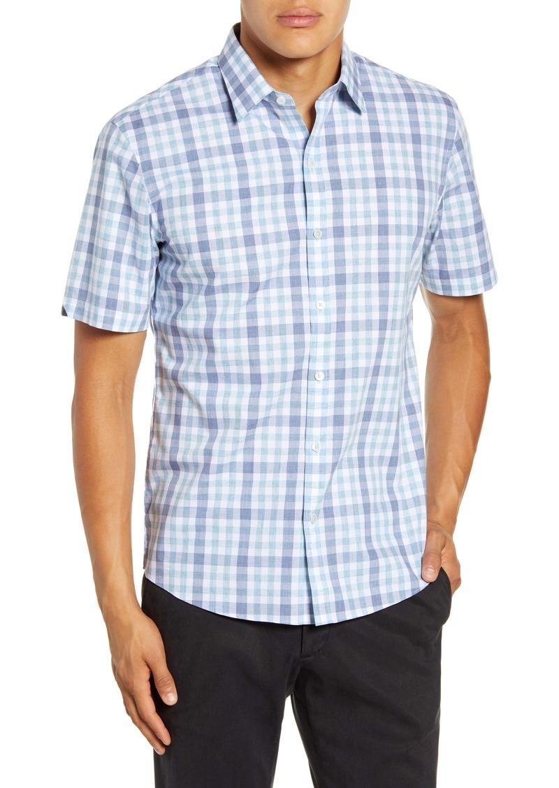 Zachary Prell Vidal Regular Fit Check Short-Sleeve Button-Up Sport Shirt