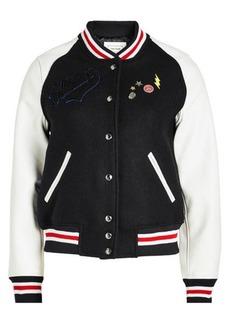 Zadig & Voltaire Birdie Varsity Wool Jacket with Leather Sleeves