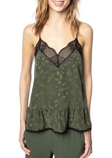 Zadig & Voltaire Celest Lace-Trim Printed Silk Camisole