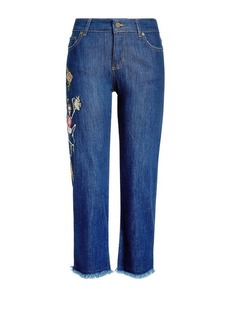 Zadig & Voltaire Cropped Embroidered Jeans with Frayed Hem