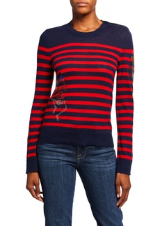 Zadig & Voltaire Delly Striped Embellished Cashmere Sweater
