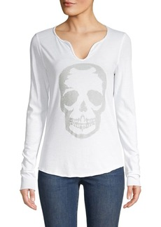 Zadig & Voltaire Embellished Skull Long Sleeve Tee