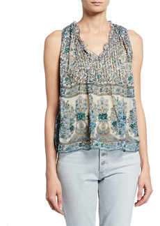 Zadig & Voltaire Floral Print Ruched Sleeveless Blouse