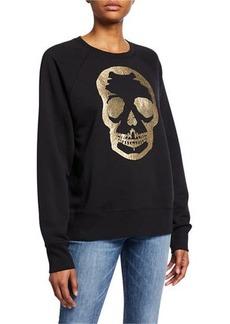 Zadig & Voltaire Foil Skull Graphic Raglan-Sleeve Sweatshirt