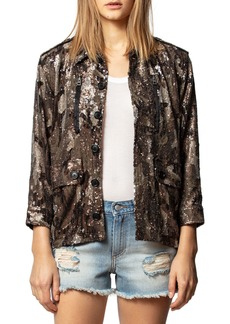 Zadig & Voltaire Kid Sequined Camo-Print Jacket