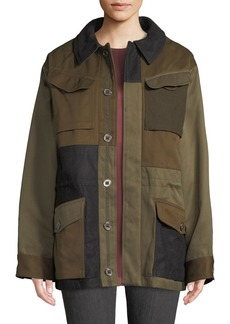 Zadig & Voltaire Kim Button-Down Colorblock Jacket with Pocket Details