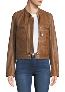 Zadig & Voltaire Love Zip-Front Leather Aviator Jacket