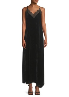 Zadig & Voltaire Risty Lace-Trimmed Velvet Maxi Dress