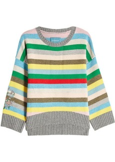 Zadig & Voltaire Striped Merino Wool Pullover with Embroidery