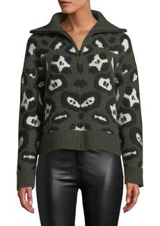 Zadig & Voltaire Talilah Animal-Print Alpaca-Blend Zip-Front Cardigan