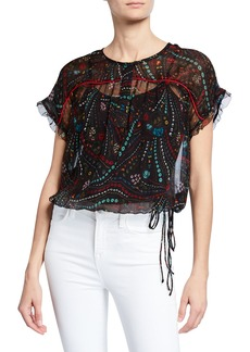 Zadig & Voltaire Terson Psyche Embroidered Sheer Silk Blouse