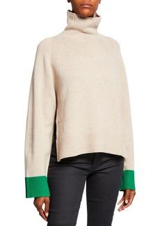 Zadig & Voltaire Turtleneck Oversized Wool Contrast-Cuff Sweater