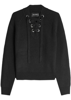 Zadig & Voltaire Wool Pullover with Lace-Up Front