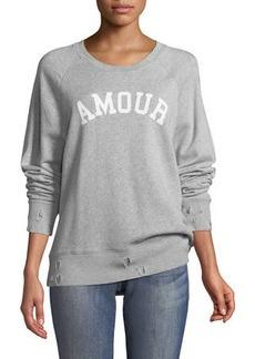 Zadig & Voltaire Amour Crewneck Distressed Pullover Sweatshirt