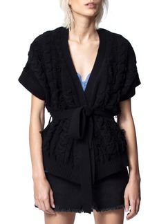 Zadig & Voltaire Corry Cows Cable Short Sleeve Cardigan