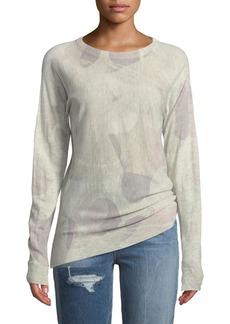 Zadig & Voltaire Crisp Camo-Print Crewneck Long-Sleeve Cashmere Sweater