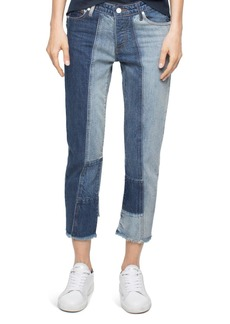 Zadig & Voltaire Deluxe Boyfix Patchwork Boyfriend Jeans in Blue