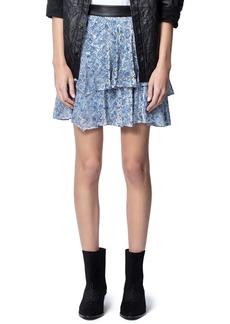 Zadig & Voltaire Jim Velours Devore Tiered Ruffle Miniskirt