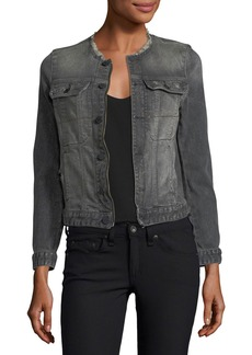 Zadig & Voltaire Kioky Gris Brocade Button-Front Denim Jacket