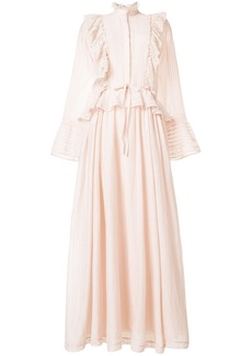 Zadig & Voltaire long frill-trim dress - Nude & Neutrals