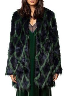 Zadig & Voltaire Louisy Harlequin Faux Fur Coat