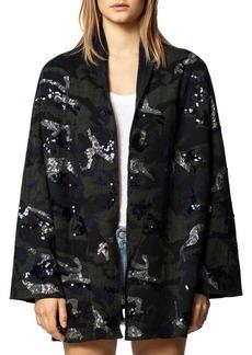 Zadig & Voltaire Maya Sequin Camo Wool-Blend Cardigan