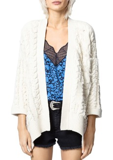 Zadig & Voltaire Mouna Cable-Knit Open-Front Cardigan