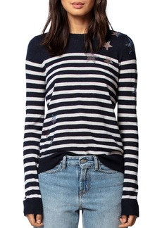 Zadig & Voltaire Pluie d'�toile Striped Featherweight Cashmere Sweater