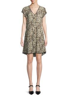 Zadig & Voltaire Ringo V-Neck Leopard-Print Crinkled Crepe Dress