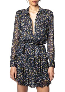 Zadig & Voltaire Star Print Long Sleeve Crinkle Dress