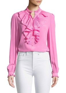 Zadig & Voltaire Tacco Button-Front Long-Sleeve Silk Blouse with Pleated Ruffles