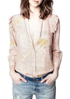 Zadig & Voltaire Tygg Print Glam Long Sleeve Blouse