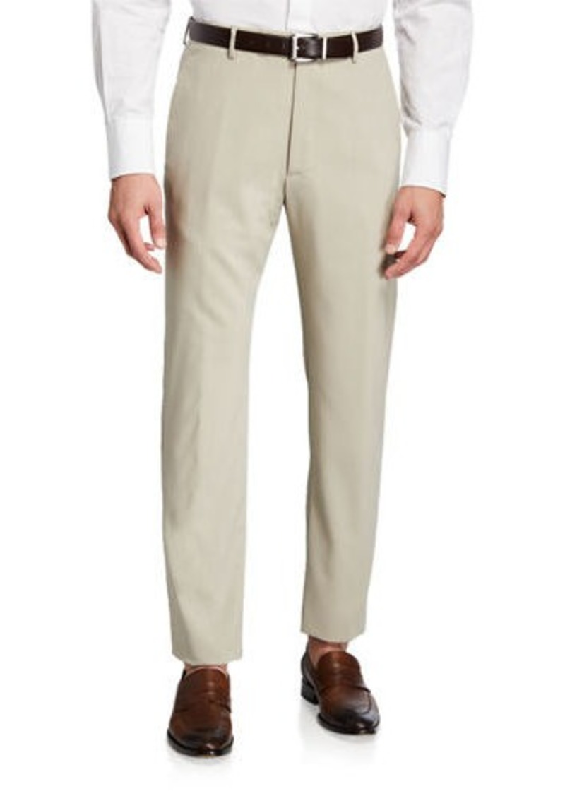 Zanella Men's High-Twist Serge Wool Dress Trousers