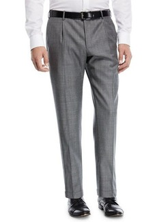 Zanella Pleat-Front Sharkskin Trousers