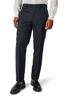 Zanella Curtis Flat Front Solid Stretch Wool Trousers