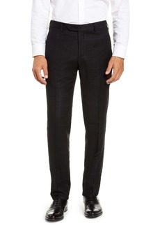 Zanella Curtis Flat Front Windowpane Wool Trousers