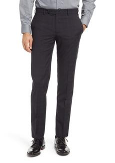Zanella Curtis Plaid Flat Front Slim Fit Wool Dress Pants