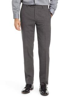Zanella Devon Check Flat Front Wool Blend Dress Pants
