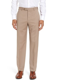 Zanella Devon Flat Front Classic Fit Solid Wool Serge Dress Pants