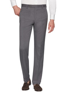 Zanella Devon Flat Front Stretch Solid Wool Trousers