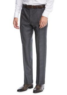 Zanella Parker Flat-Front Grid-Effect Sharkskin Trousers