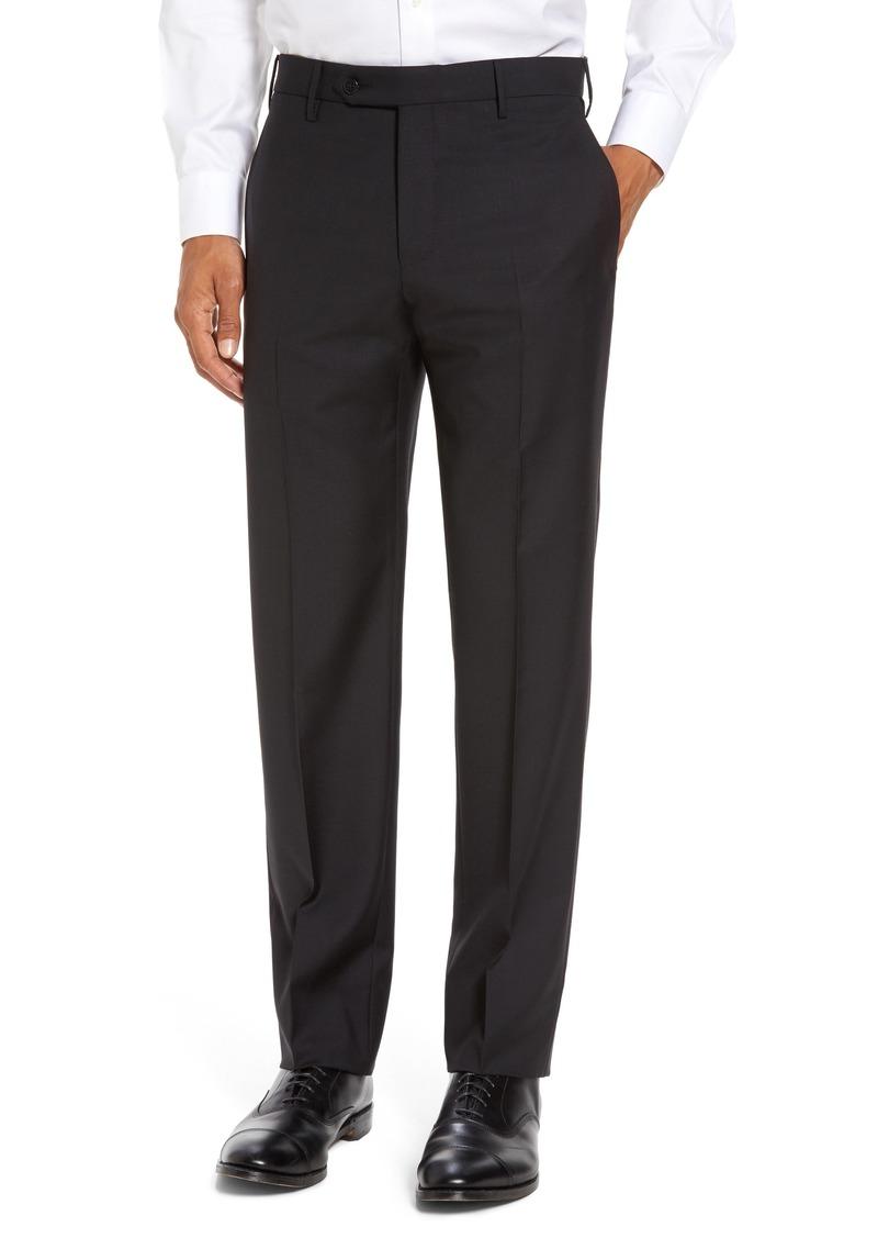 Zanella Parker Flat Front Classic Fit Sharkskin Wool Dress Pants