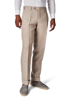 Zanella Parker Flat Front Solid Linen Trousers